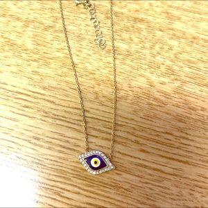Petite Evil Eye Pendant Goldtone Necklace